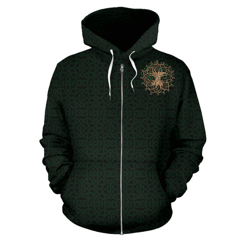 Image of Luxurious Celtic Tree Zipper Hoodie
