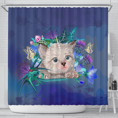 Scotland Shower Curtain - Scottish Fold Unicorn Horn And Bluebell Thistle
