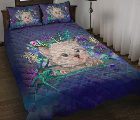 Scotland Quilt Bed Set - Scottish Fold Unicorn Horn And Bluebell Thistle
