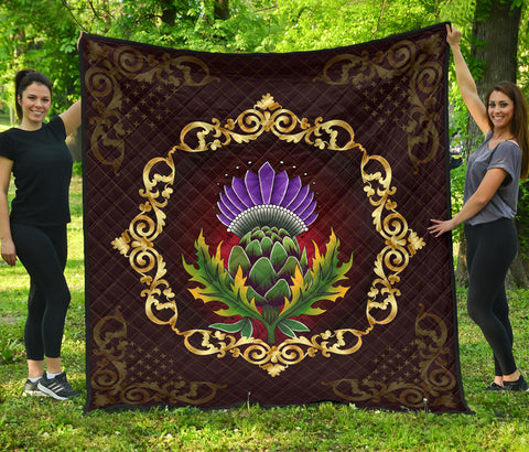 Image of Scotland Premium Quilt - Thistle Special Gold | Love Scotland
