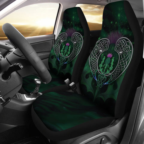 Image of Scotland Car Seat Covers - Celtic Thistle Green | Love Scotland