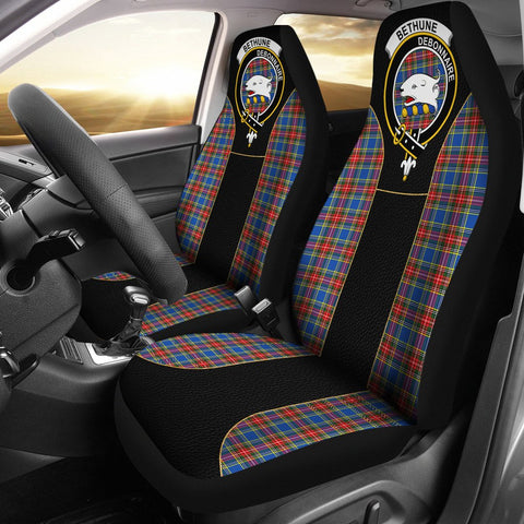 Bethune Tartan Car Seat Cover Clan Badge - Special Version