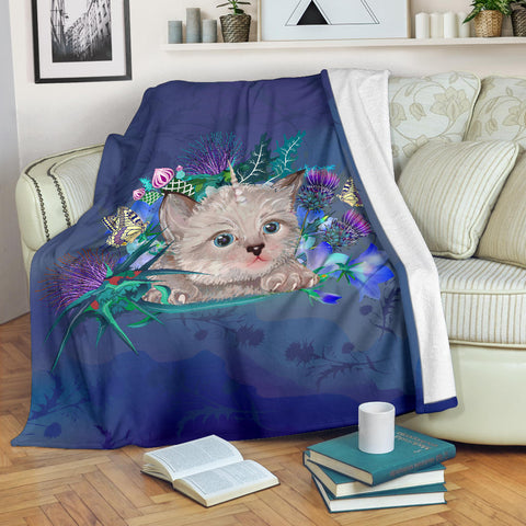 Scotland Premium Blanket - Scottish Fold Unicorn Horn And Bluebell Thistle