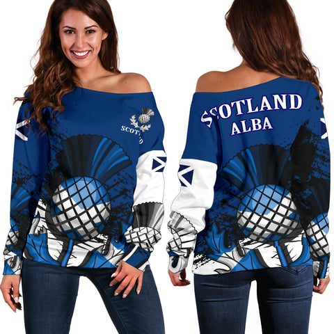 Image of Scottish Thistle Blue Edition Off Shoulder Sweater