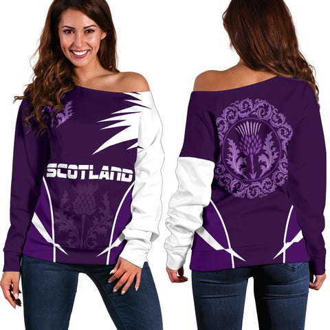Scotish Thistle - Active Off Shoulder Sweater