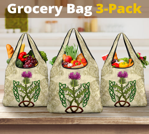 Image of Scotland Grocery Bag 3-Pack - Thistle Celtic Knot Beige A24