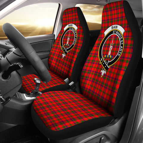 Tartan Car Seat Cover, Bain Clan Badge Scottish Car Seat Cover A9