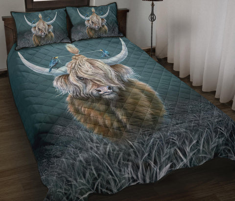 Scotland Quilt Bed Set - Highland Cow And Bird A24