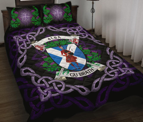 Scotland Quilt Bed Set - Scotland Flag Celtic Thistle Bagpiper A24
