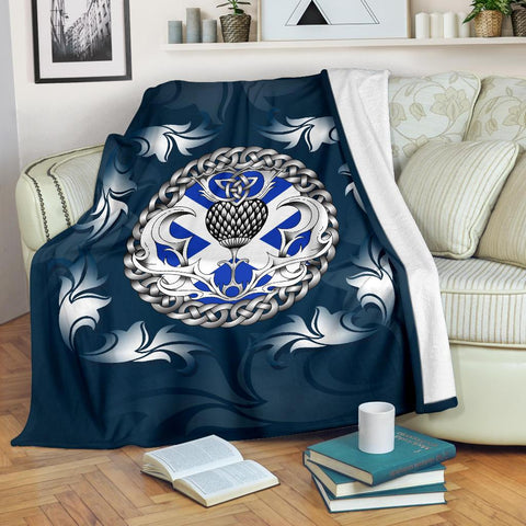 Scotland Premium Blanket - Scottish Celtic Thistle - Blue