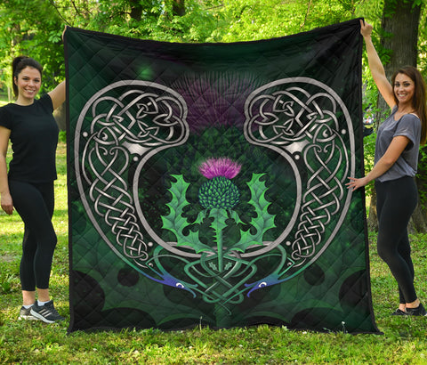 Image of Scotland Premium Quilt - Celtic Thistle Green | Home Set