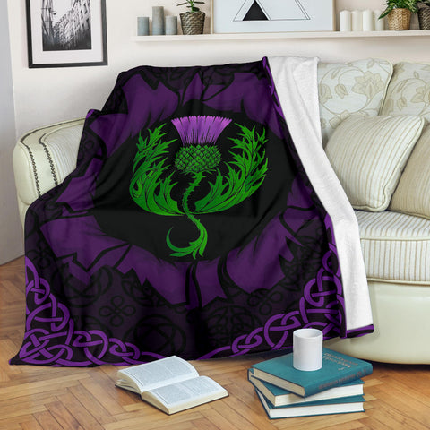 Scotland Premium Blanket - Celtic Thistle Purple | Love Scotland