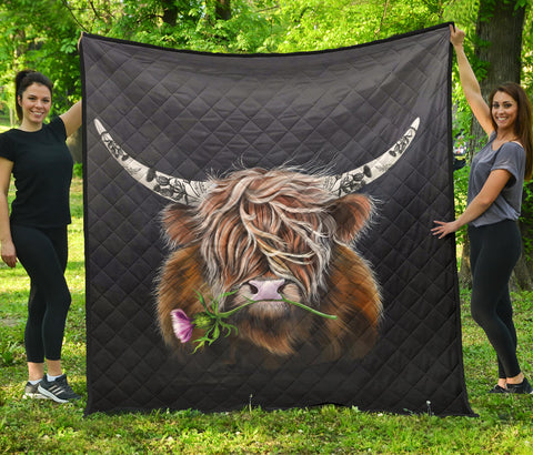 Scotland Premium Quilt - Thistle Highland Cow | Love Scotland