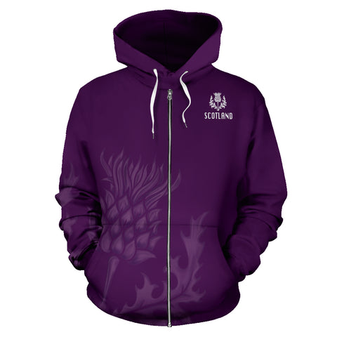 Image of Purple Thistle Allover Zip Hoodie | Love Scotland