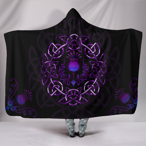 Scotland Hooded Blanket - Purple Thistle Celtic | Love Scotland
