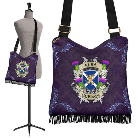 Scotland Crossbody Boho Handbag - Scotland Forever Flag Lion Thistle Purple