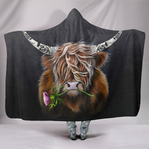 Scotland Hooded Blanket - Thistle Highland Cow | Love Scotland