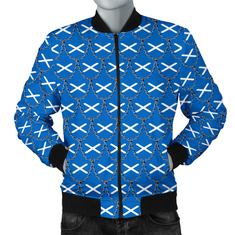 Scotland Flag And Chains Pattern Men's Bomber A21
