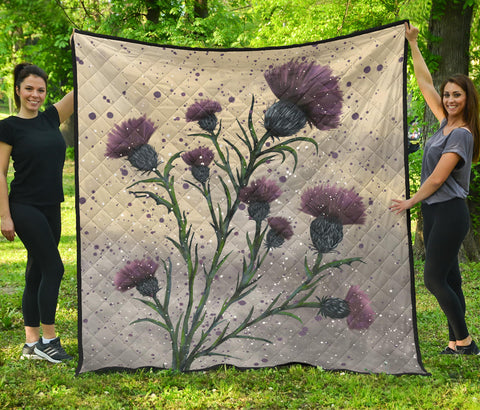 Image of Scotland Premium Quilt - Scottish Thistle Vintage | Love Scotland