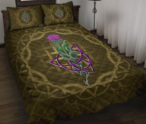 Scotland Quilt Bed Set - Thistle Celtic Knot Circle Frame A24