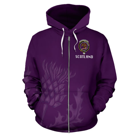 Abercrombie Crest Scottish Thistle Scotland Zip Hoodie Purple | Clothing | 1stscotland