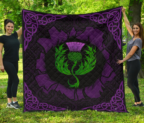 Scotland Premium Quilt - Celtic Thistle Purple | Love Scotland