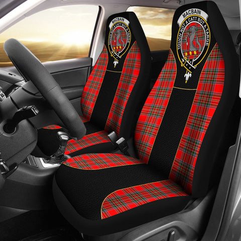 Image of Macbain Tartan Car Seat Cover Clan Badge - Special Version