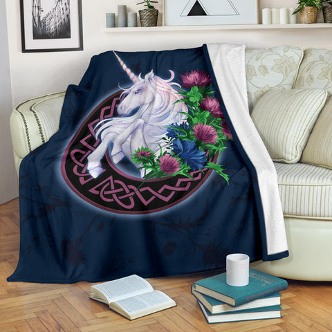 Scotland Premium Blanket - Unicorn Thistle And Moon Celtic