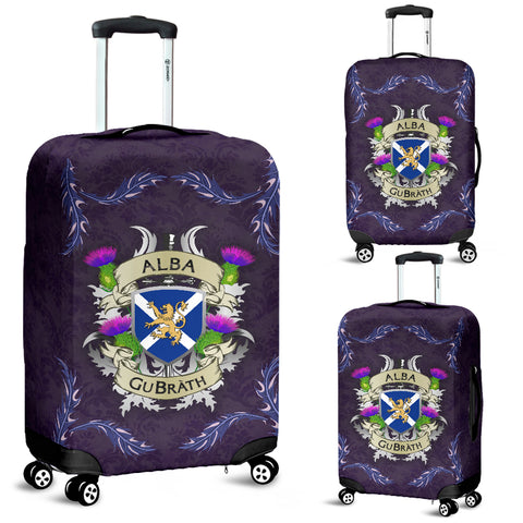 Scotland Luggage Covers - Scotland Forever Flag Lion Thistle Purple (Alba GuBràth)
