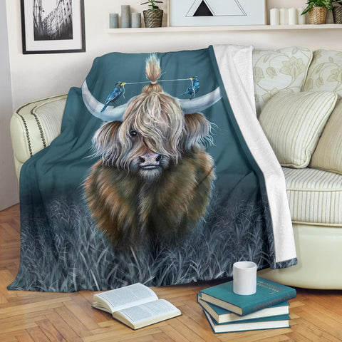 Scotland Premium Blanket - Highland Cow And Bird | Love Scotland