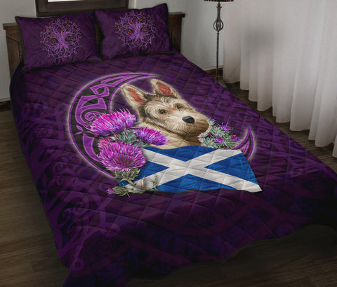Scotland Quilt Bed Set Celtic Tree Of Life - Scottish Terrier And Thistle Moon Celtic