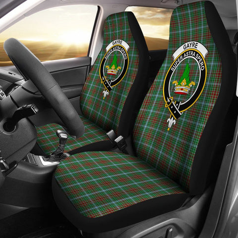 Image of Tartan Car Seat Cover, Gayre Clan Badge Scottish Car Seat Cover A9