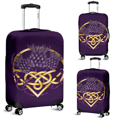 Scotland Luggage Covers - Thistle Celtic Knot Purple | Love Scotland