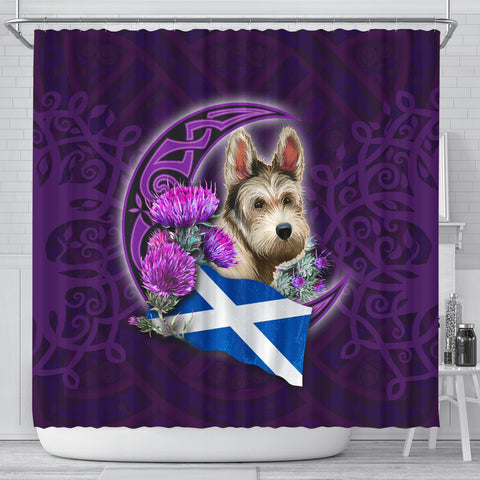 Scotland Shower Curtain Celtic Tree Of Life - Scottish Terrier And Thistle Moon Celtic
