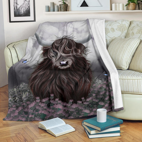 Scotland Premium Blanket - Highland Cow Thistle | Love Scotland