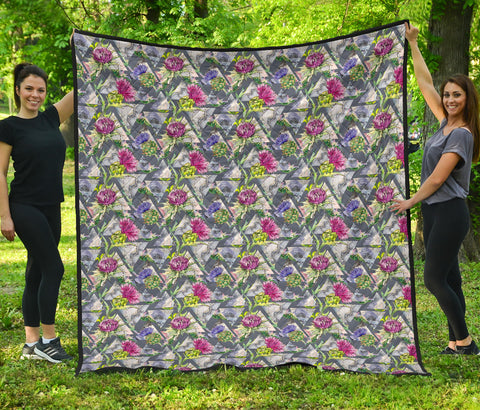 Scotland Premium Quilt - Scottish Thistle 14th Pattern