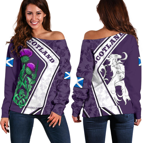 Scotland Shoulder Sweater - Lion Thistle Celtic Purple | Love Scotland