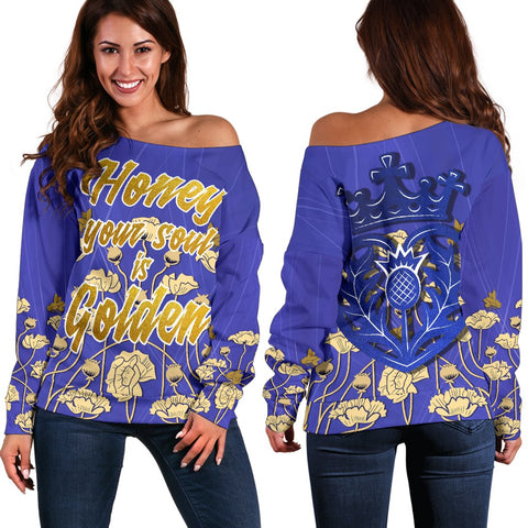 "1stScotland Women's Off Shoulder Sweater - ""Honey Your Soul Is Golden"" & Luckenbooth A25"