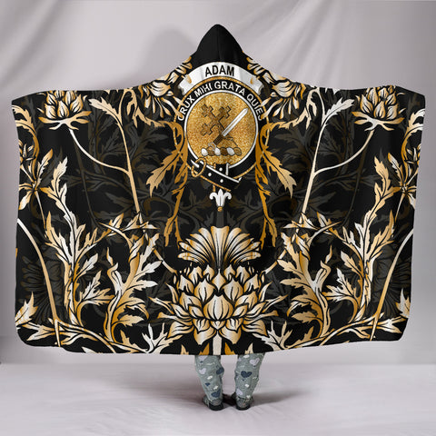 Adam Hooded Blanket - Gold Scottish Thistle Over 300 Clans