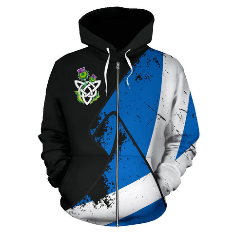 Image of Special Grunge Flag Zip Hoodie | Clothing | Love Scotland