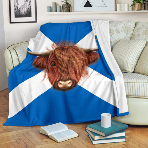 Highland Cow Saltire Premium Blanket | Love Scotland