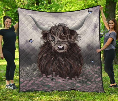 Scotland Premium Quilt - Highland Cow Thistle | Love Scotland