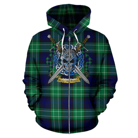 Image of Abercrombie Tartan Hoodie Celtic Scottish Warrior (Zip) A79