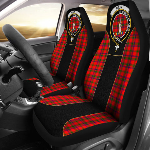 Bain Tartan Car Seat Cover Clan Badge - Special Version
