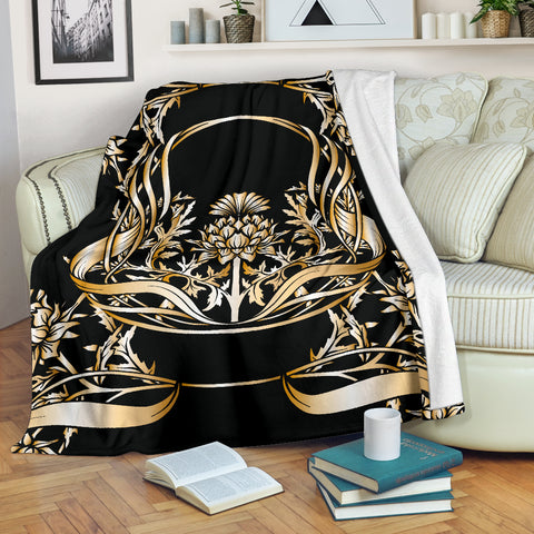 Love Scotland | Golden Thistle Emblem Premium Blanket