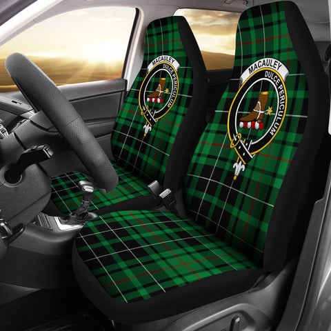 Image of Tartan Car Seat Cover, Macauley Clan Badge Scottish Car Seat Cover A9
