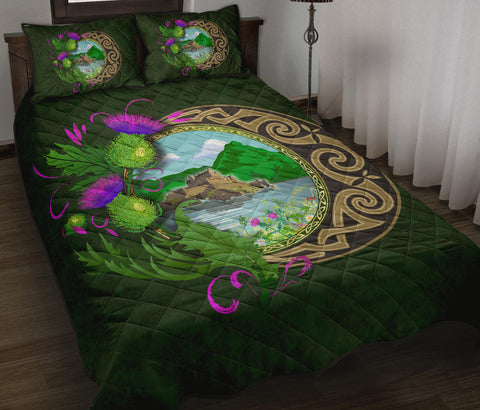 Scotland Quilt Bed Set - Edinburgh Thistle Green A24