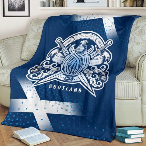 Scotland Flag With Thistle Pattern Premium Blanket | Love Scotland