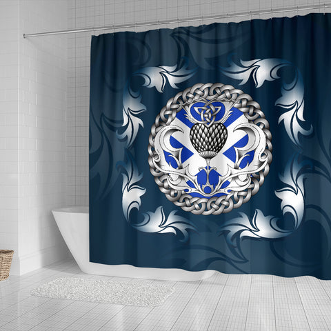Scotland Shower Curtain - Scottish Flag and Celtic Thistle - Blue A18