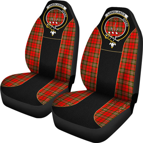 Image of Tartan Car Seat Cover, Langlands Clan Badge Special Version Scottish Car Seat Cover A9